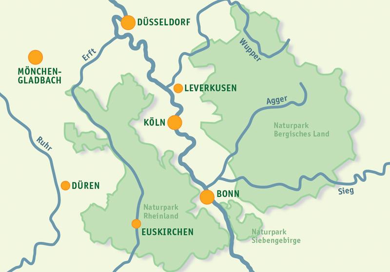 Die drei Naturparks zwischen Köln und Bonn. Foto: Zweckverband Naturpark Rheinland