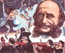 Karikatur: Jayques Offenbach mit Can-can-Tänzerinnen