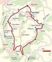 Die Wanderroute. Karte: Landesvermessungsamt Nordrhein-Westfalen.
