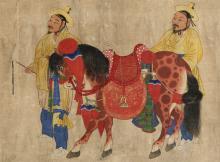 Pferd mit zwei Knechten (Korea, spätes 19. Jh., © NRICP)