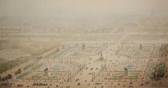 Jakob Ignaz Hittorff: Perspektivische Ansicht der Place de la Concorde, 1829 (Quelle: Wallraf-Richartz-Museum)