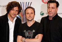 Christopher Schneider, Paul Landers und Till Lindemann (v.l.n.r.) Schlagzeuger, Gitarrist und Sänger von Rammstein. (Foto: ddp)