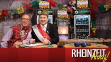 """Michael Schwan (l.) und Stephan Brandt (r.) berichten in der """"Rheinzeit Alaaf"""" über alles was im Fastelovend Rang und Namen hat. (Foto: center.tv)"""