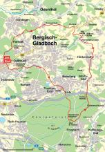 """""""Rund um Bergisch Gladbach"""" Radtour als Kartenskizze. (Bachem-Verlag)"""