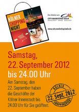 """Ein """"kultureller Shoppingmarathon"""" erwartet Kölner und Köln-Besucher am 22. September in der Kölner City."""