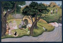 Die Asketen bitten Rama um Schutz. Folio aus der kleinen Guler-Ramayana-Serie von 1775/80, © Museum Rietberg Zürich
