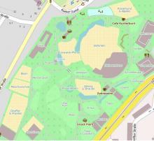 Sogar die einzelnen Tiergehege im Zoo sind im neuen Stadtplan detailliert ausgewiesen.