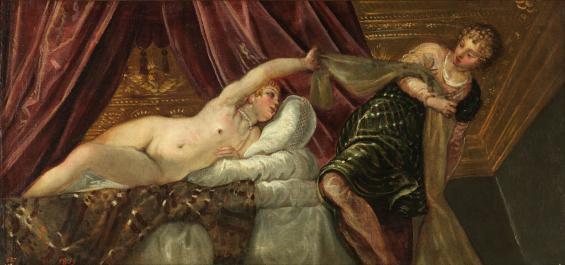 """Mit Sex and Crime in biblischen Zeiten durfte auch viel nackte Haut gezeigt werden: """"Joseph und Potiphars Weib"""" malte Jacopo Tintoretto Anfang der 1560er Jahre. © Museo Nacional del Prado, Madrid."""