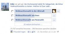Am beliebstesten unter den Köln-Fans auf Facebook ist der Heizelmännchen-Weihnachtsmarkt.