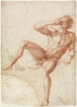 Baccio Bandinelli, Studie eines Knaben mit Trinkgefäß um 1530/40, Rötel auf Vergè, Wall-raf-Richartz-Museum, Graphische Sammlung