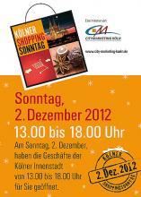Am Sonntag ist in der Kölner City Advents-Shopping angesagt. (Foto: City Marketing)
