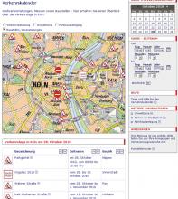 Screenshot des Verkehrskalenders