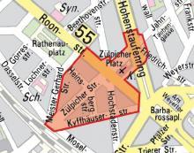 Glasverbot Zone im Zülpicher Viertel Hier dürfen an den Karnevalstagen keine Flaschen mitgebracht werden (Bild: Stadt Köln)