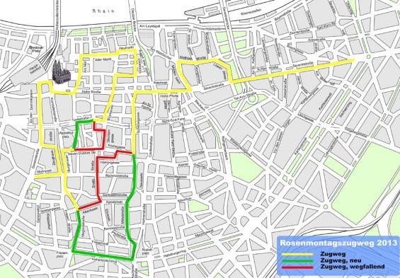 Der Rosenmontagszug zieht 2013 auf neuem Weg durch die Stadt.